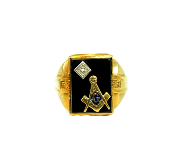 10k Masonic Men's Ring Diamond Enamel Accents Art Deco Vintage - Premier Estate Gallery  - 2
