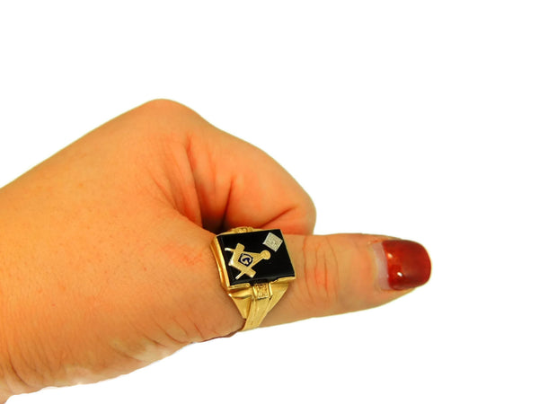 10k Masonic Men's Ring Diamond Enamel Accents Art Deco Vintage - Premier Estate Gallery  - 5