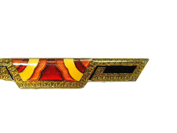 Pierre Bex Enamel Art Deco Style Bar Brooch Vivid Enamel Rainbow Colors - Premier Estate Gallery  - 3