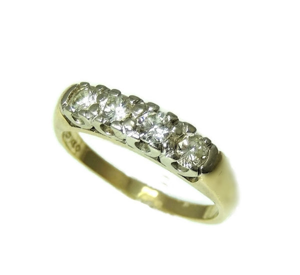 Estate Diamond Ring 14k Gold, Five Stone Diamond Band Ring c1930 Vintage - Premier Estate Gallery  - 1