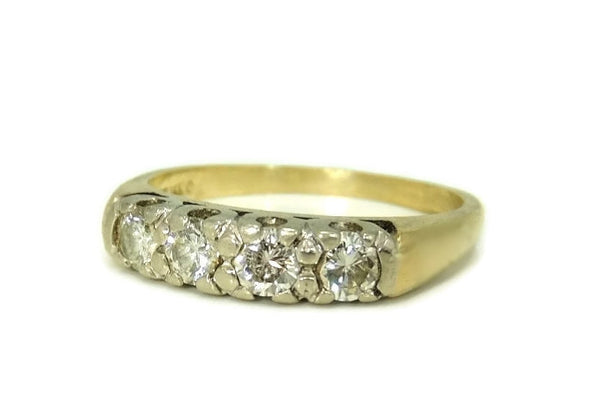 Estate Diamond Ring 14k Gold, Five Stone Diamond Band Ring c1930 Vintage - Premier Estate Gallery  - 2