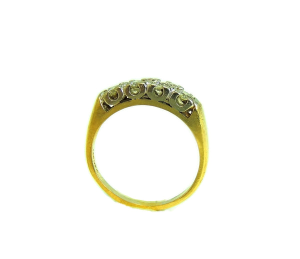 Estate Diamond Ring 14k Gold, Five Stone Diamond Band Ring c1930 Vintage - Premier Estate Gallery  - 3