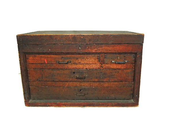 Wood Machinist Tool Box Beveled Sides Carpentry Antique - Premier Estate Gallery  - 2
