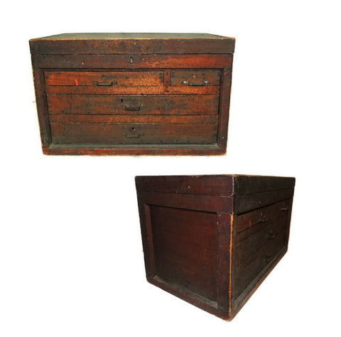 Wood Machinist Tool Box Beveled Sides Carpentry Antique - Premier Estate Gallery  - 1