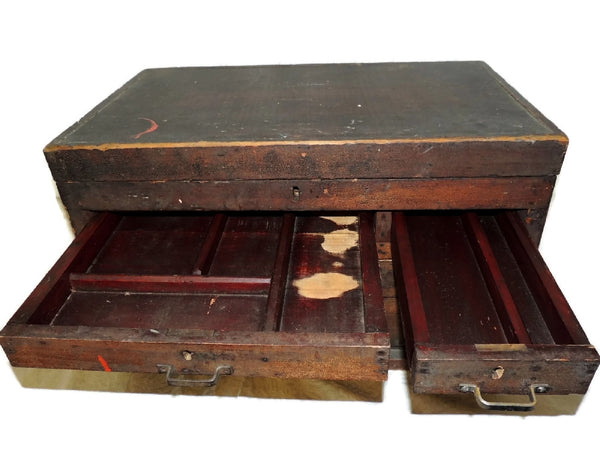 Wood Machinist Tool Box Beveled Sides Carpentry Antique - Premier Estate Gallery  - 4