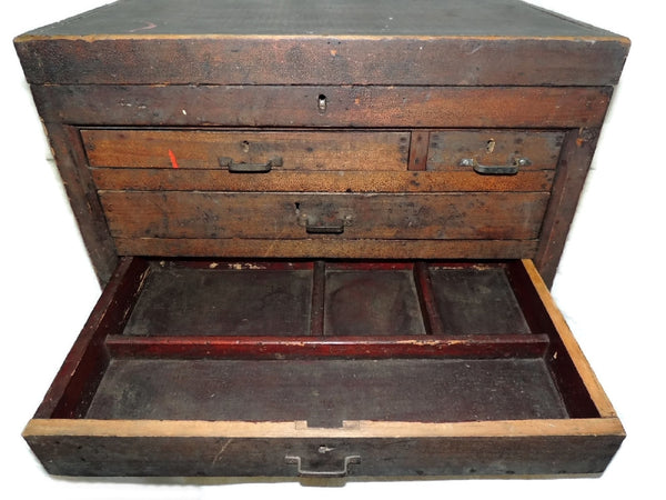 Wood Machinist Tool Box Beveled Sides Carpentry Antique - Premier Estate Gallery  - 5
