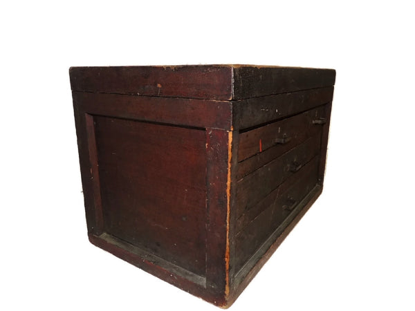 Wood Machinist Tool Box Beveled Sides Carpentry Antique - Premier Estate Gallery  - 6