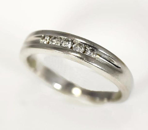 14k White Gold Diamond Band Wedding Ring for Men - Premier Estate Gallery 1