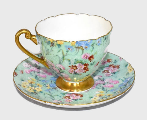 Vintage Shelley Melody Chintz Teacup Saucer Ripon Shape 13382 - Premier Estate Gallery