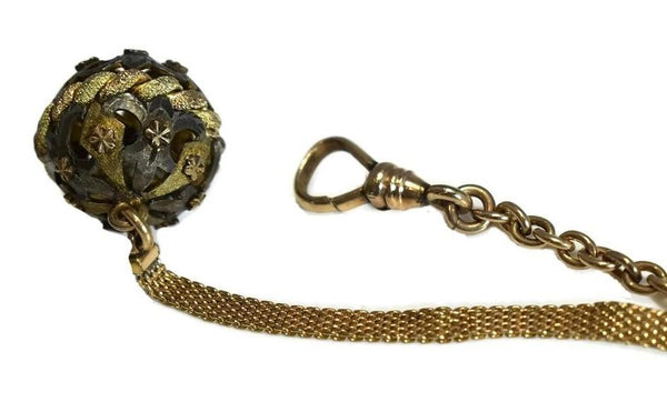Antique Victorian Pocket Watch Chain Gold Filled with Ornate Silver Fob