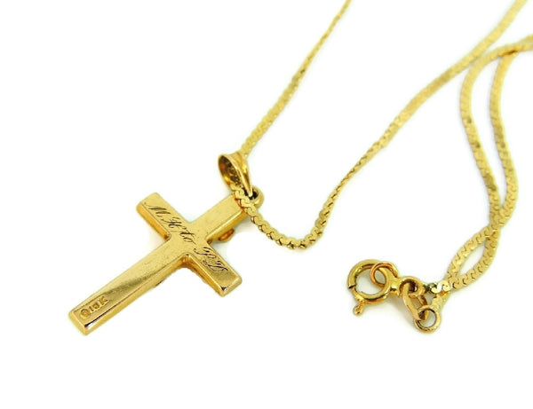 10k Gold Cross Pendant with 14k Gold Chain Religious Jewelry - Premier Estate Gallery  - 2