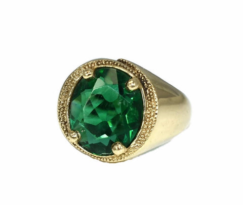 Men s 10k Gold Ring Art Deco Style Emerald Green Faceted Glass