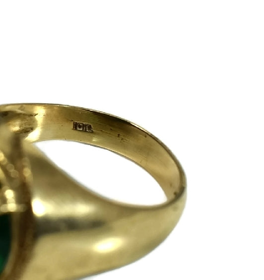 Men's 10k Gold Ring Art Deco Style Emerald Green Faceted Glass Stone c1940