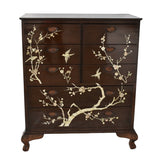 Chinese Lacquered Rosewood Dresser Ming Tree & Bird Mother of Pearl Inlay Vintage Asian Decor - Premier Estate Gallery