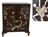 Chinese Lacquered Rosewood Dresser Ming Tree & Bird Mother of Pearl Inlay Vintage Asian Decor - Premier Estate Gallery 1