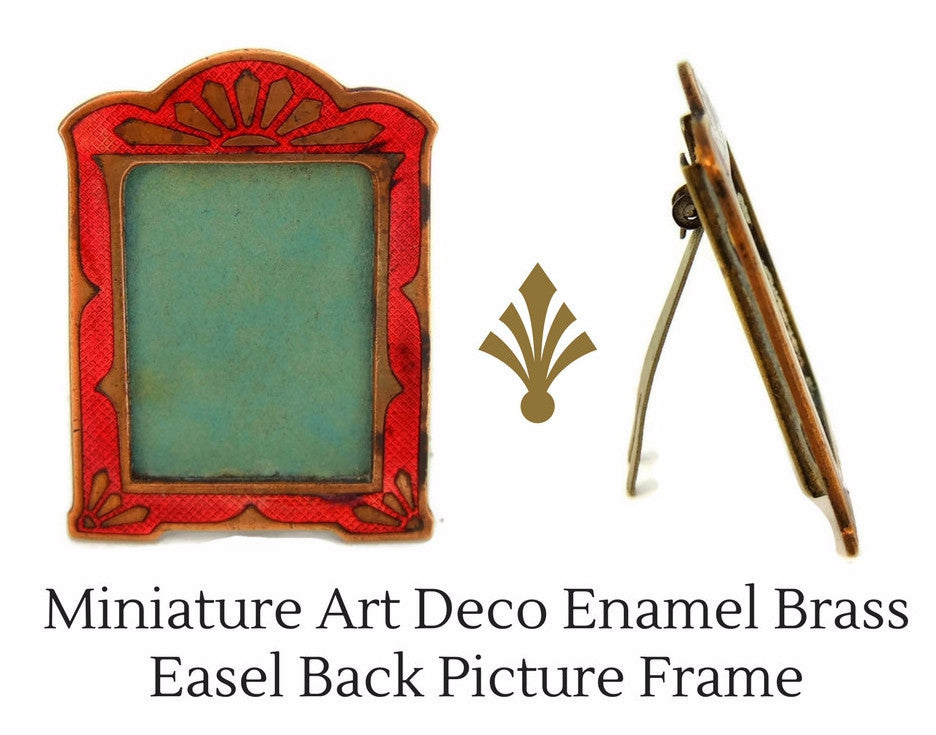 deco miniature enamel frame easel back dollhouse or small photo