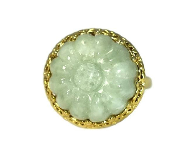 Estate 14k Celedon Jade Ring Carved Sunflower Ornate Setting Over 12 Carats - Premier Estate Gallery 2