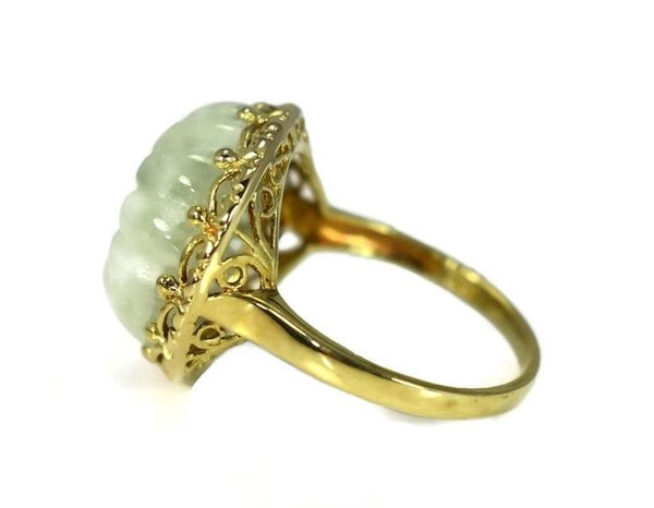 Estate 14k Celadon Jade Ring Carved Sunflower Ornate Setting Over 12 Carats