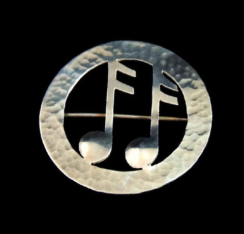 Vintage Lenore Deskow Musical Notes Brooch Sterling Silver - Premier Estate Gallery  - 1