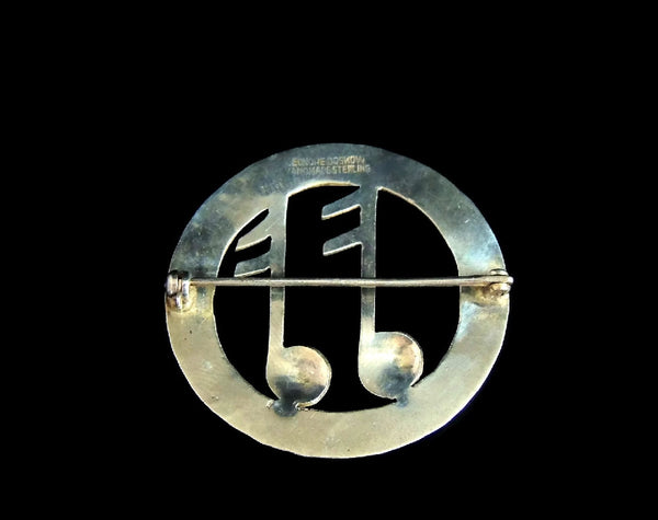 Vintage Lenore Deskow Musical Notes Brooch Sterling Silver - Premier Estate Gallery  - 3