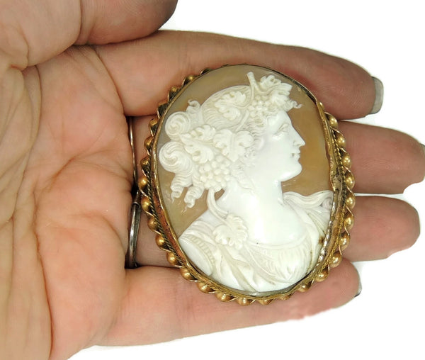 Early Shell Carved Cameo Brooch 9k Gold  Dionysus Antique 1860s - Premier Estate Gallery  - 1