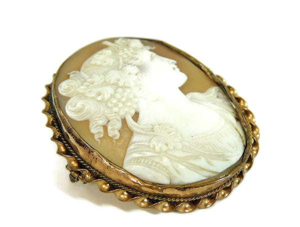 Early Shell Carved Cameo Brooch 9k Gold  Dionysus Antique 1860s - Premier Estate Gallery  - 4