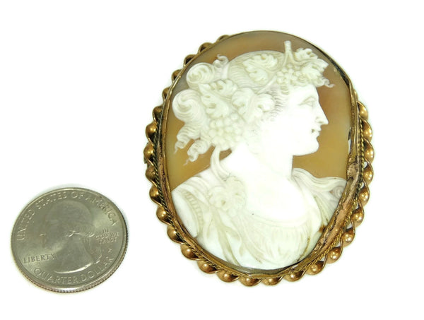 Early Shell Carved Cameo Brooch 9k Gold  Dionysus Antique 1860s - Premier Estate Gallery  - 2