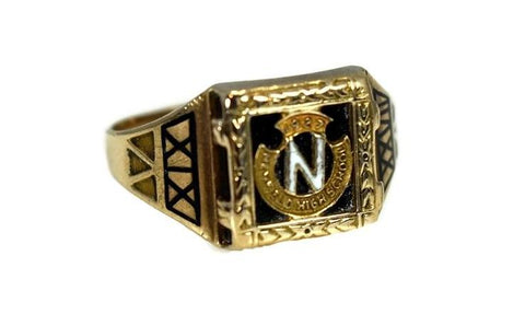 Vintage Newfield High School 10k Gold Class Ring Art Deco Enamel Selden NY - Premier Estate Gallery