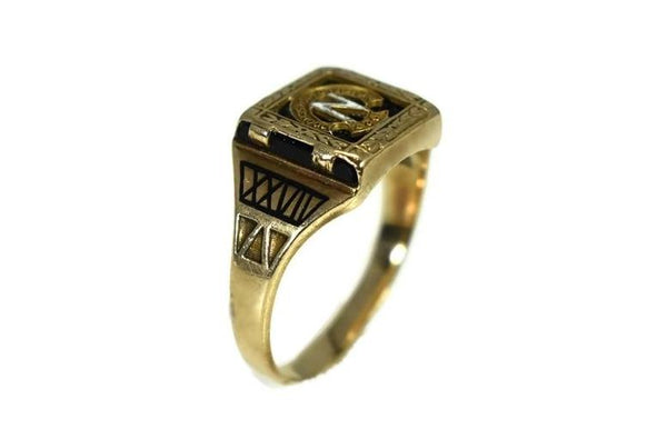 Vintage Newfield High School 10k Gold Class Ring Art Deco Enamel Selden NY - Premier Estate Gallery 2