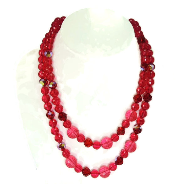 Vintage Raspberry Double Strand Lucite Beaded Necklace Sterling Silver Clasp - Premier Estate Gallery  - 2