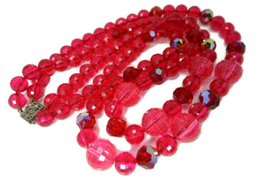 Vintage Raspberry Double Strand Lucite Beaded Necklace Sterling Silver Clasp - Premier Estate Gallery  - 1