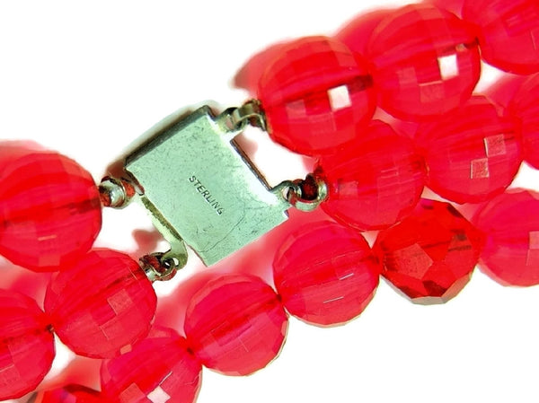 Vintage Raspberry Double Strand Lucite Beaded Necklace Sterling Silver Clasp - Premier Estate Gallery  - 3