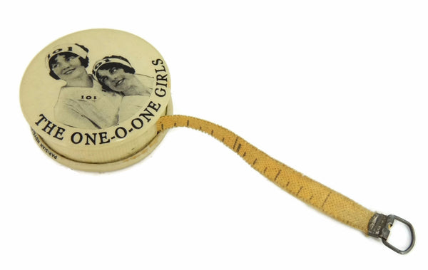 1919 One-O-One Girls Sewing Tape Measure Celluloid Case Vintage Advertising