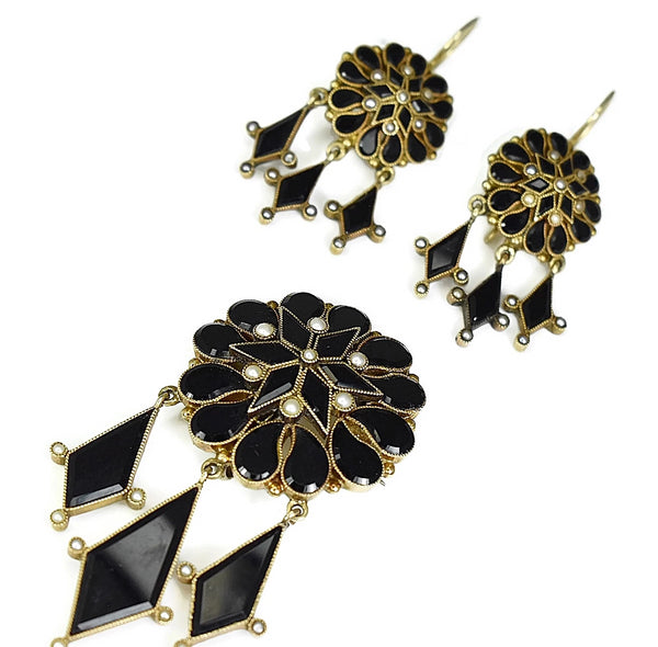 Antique 14k Gold Mourning Jewelry Set Onyx Seed Pearl Brooch Dangle Earrings - Premier Estate Gallery 2