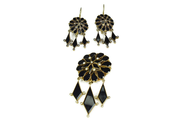 Antique 14k Gold Mourning Jewelry Set Onyx Seed Pearl Brooch Dangle Earrings - Premier Estate Gallery 3