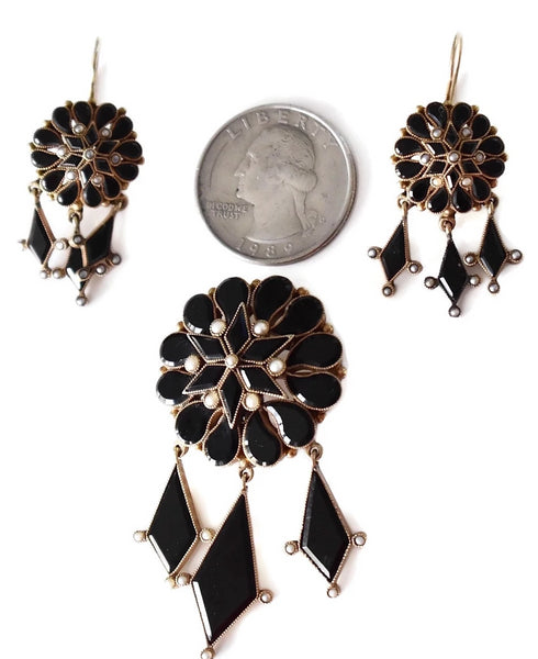 Antique 14k Gold Mourning Jewelry Set Onyx Seed Pearl Brooch Dangle Earrings - Premier Estate Gallery 4