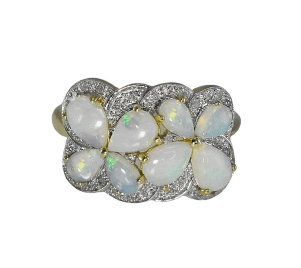 Estate Australian Opal Diamond Cocktail Ring Blue Green Opals - Premier Estate Gallery
