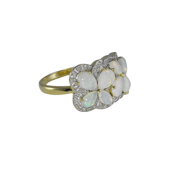 Estate Australian Opal Diamond Cocktail Ring Blue Green Opals - Premier Estate Gallery 4