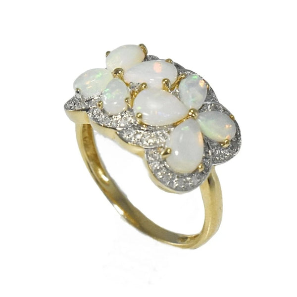 Estate Australian Opal Diamond Cocktail Ring Blue Green Opals - Premier Estate Gallery 2