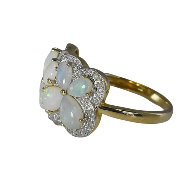 Estate Australian Opal Diamond Cocktail Ring Blue Green Opals - Premier Estate Gallery 3