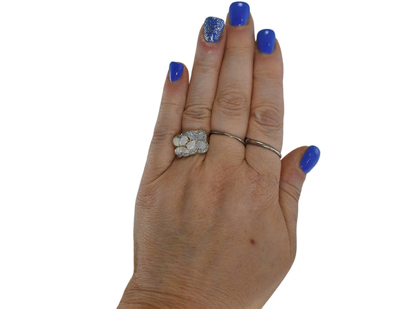 Estate 14k Australian Opal Diamond Cocktail Ring Blue Green Opals