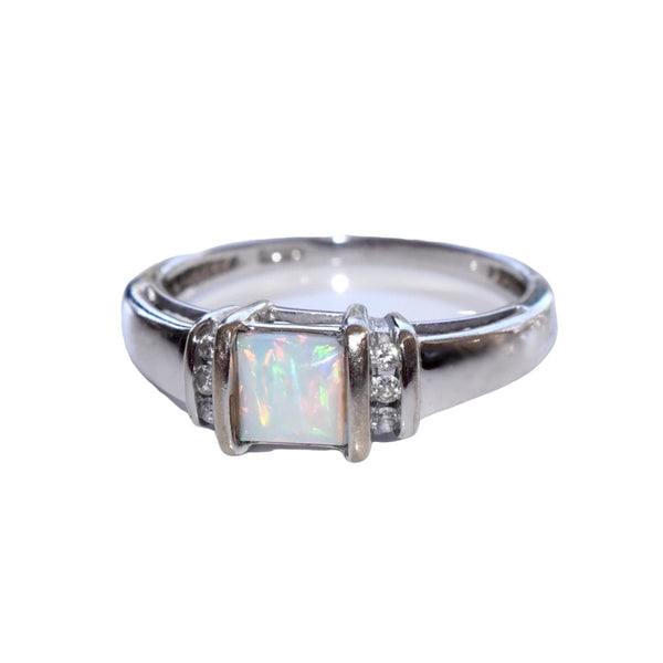 Estate 14k White Gold Opal Diamond Ring Stunning Play of Color - Premier Estate Gallery 2