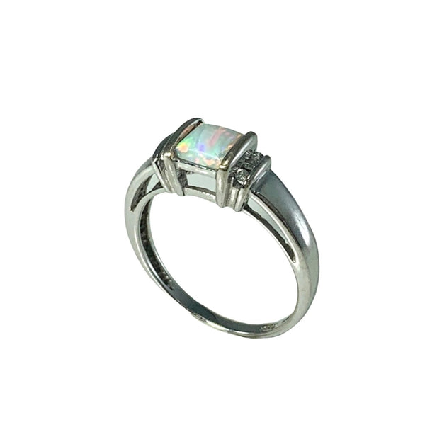 Estate 14k White Gold Opal Diamond Ring Stunning Play of Color - Premier Estate Gallery 3