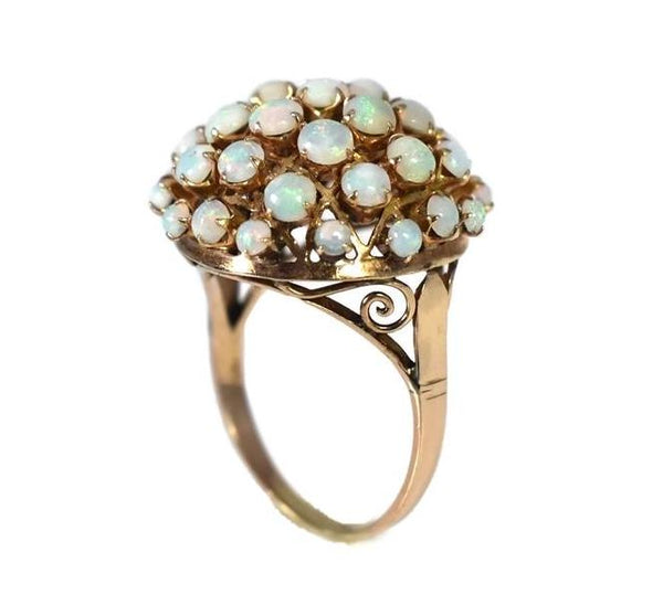 Estate 14k Opal Cocktail Ring Domed Rosy Gold Setting 37 Opals - Premier Estate Gallery 2