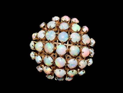 Estate 14k Opal Cocktail Ring Domed Rosy Gold Setting 37 Opals - Premier Estate Gallery