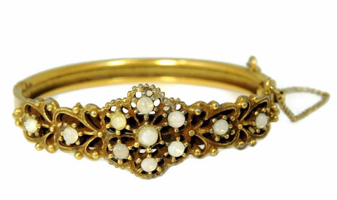 Victorian Revival Crystal Opal Hinged Bangle Bracelet c1920 - Premier Estate Gallery  - 1