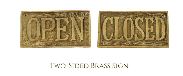 Vintage OPEN CLOSED Sign Cast Brass Reversible NOS 1960s - Premier Estate Gallery 3