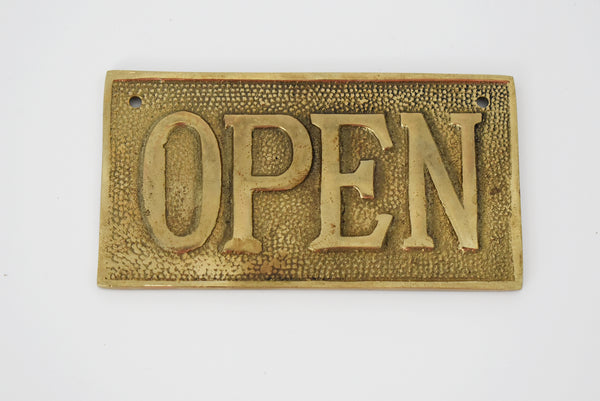 Vintage OPEN CLOSED Sign Cast Brass Reversible NOS 1960s - Premier Estate Gallery 4