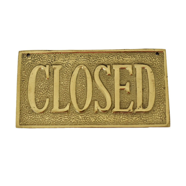 Vintage OPEN CLOSED Sign Cast Brass Reversible NOS 1960s - Premier Estate Gallery 1