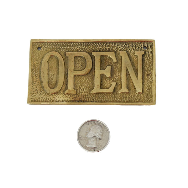 Vintage OPEN CLOSED Sign Cast Brass Reversible NOS 1960s - Premier Estate Gallery 2